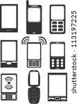 mobile phone icons   Shutterstock .eps vector #113197225