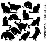 Stock vector collection vector silhouettes of the cat different poses standing sitting black color icon 1131983357