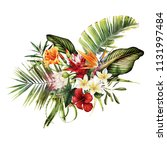 greeting card with tropical... | Shutterstock . vector #1131997484