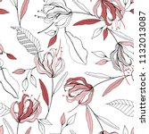 blossom floral seamless pattern.... | Shutterstock .eps vector #1132013087