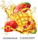mango into of burst splashes of ... | Shutterstock .eps vector #1132013357