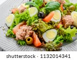tuna salad with tomatoes  ... | Shutterstock . vector #1132014341
