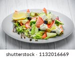 greek salad with vegetables and ... | Shutterstock . vector #1132016669