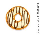 donut with white glaze and...   Shutterstock . vector #1132023491