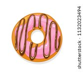 donut with pink glaze and...   Shutterstock . vector #1132023494