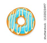donut with blue glaze and white ...   Shutterstock . vector #1132023497