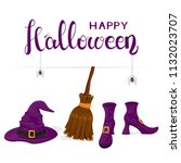 purple witches hat  shoes and...   Shutterstock . vector #1132023707