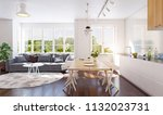 modern kitchen interior. 3d... | Shutterstock . vector #1132023731