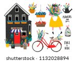 flower shop and various florist ... | Shutterstock .eps vector #1132028894