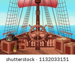 Ship Of Pirates. Vector...