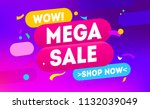 mega sale for web app banner.... | Shutterstock .eps vector #1132039049