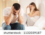unhappy young couple has... | Shutterstock . vector #1132039187