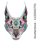 patterned caracal lynx. tattoo... | Shutterstock .eps vector #1132042751