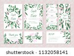 wedding card templates set with ... | Shutterstock .eps vector #1132058141