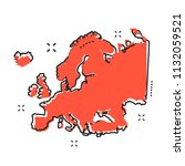 cartoon europe map icon in... | Shutterstock .eps vector #1132059521