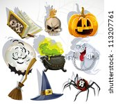 collection of halloween related ... | Shutterstock .eps vector #113207761