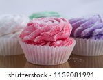 tasty and fresh four cupcakes...   Shutterstock . vector #1132081991