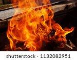 fire brazier on nature bones... | Shutterstock . vector #1132082951
