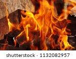 fire brazier on nature bones... | Shutterstock . vector #1132082957