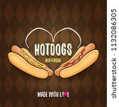 vector cartoon hot dogs label... | Shutterstock .eps vector #1132086305
