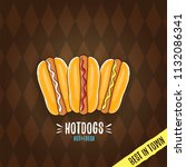 vector cartoon hot dogs label... | Shutterstock .eps vector #1132086341