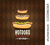 vector cartoon hot dogs label... | Shutterstock .eps vector #1132086365