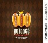 vector cartoon hot dogs label... | Shutterstock .eps vector #1132086371