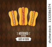 vector cartoon hot dogs label... | Shutterstock .eps vector #1132086374