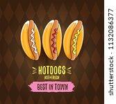 vector cartoon hot dogs label... | Shutterstock .eps vector #1132086377