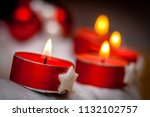 advent warm wreath with flaming ... | Shutterstock . vector #1132102757