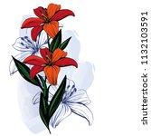 lilium vector pattern | Shutterstock .eps vector #1132103591