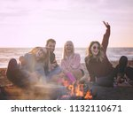 happy carefree young friends... | Shutterstock . vector #1132110671