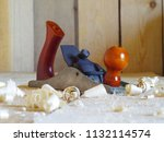 joiner's plane on a wooden... | Shutterstock . vector #1132114574