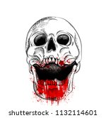 portrait of a skull in the... | Shutterstock .eps vector #1132114601