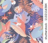 seamless pattern with tropical... | Shutterstock .eps vector #1132116584
