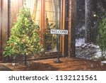 christmas tree with welcome... | Shutterstock . vector #1132121561