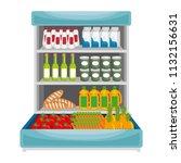 supermarket shelving with... | Shutterstock .eps vector #1132156631