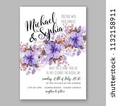 violet floral wedding... | Shutterstock .eps vector #1132158911