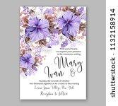 violet floral wedding... | Shutterstock .eps vector #1132158914