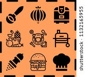 simple 9 icon set of cooking... | Shutterstock .eps vector #1132165955