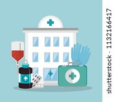 medical healthcare with set... | Shutterstock .eps vector #1132166417