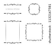 vintage floral frames borders... | Shutterstock .eps vector #1132167581