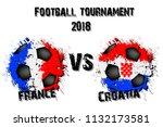 soccer game france vs croatia.... | Shutterstock .eps vector #1132173581