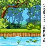 a beautiful jungle landscape... | Shutterstock .eps vector #1132183937