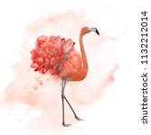 Flamingo With Flowers  ...