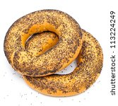 Bagel With Poppy Seeds On Whit...