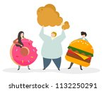 addicted to junk food and snacks | Shutterstock .eps vector #1132250291