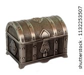 small steel chest isolated on... | Shutterstock . vector #1132253507