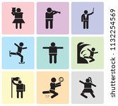 set of 9 simple editable icons... | Shutterstock .eps vector #1132254569