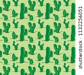 cactus  pattern. hand drawing... | Shutterstock .eps vector #1132256051
